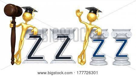 Education Lawyer Leaning On A Letter Z The Original 3D Character Illustration