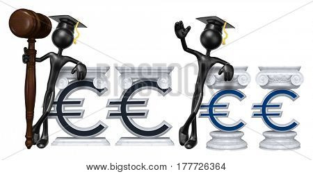 Education Lawyer Leaning On A Euro Sign The Original 3D Character Illustration