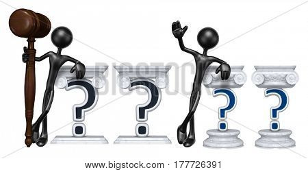 Lawyer Leaning On A Question The Original 3D Character Illustration