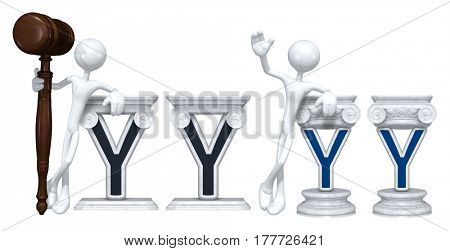 Lawyer Leaning On A Letter Y The Original 3D Character Illustration