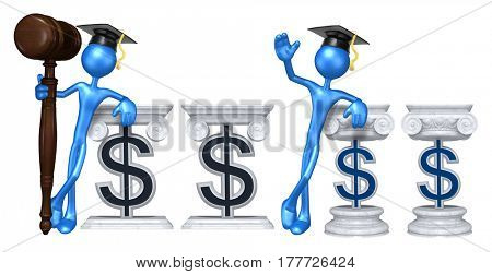 Education Lawyer Leaning On A Dollar Sign The Original 3D Character Illustration