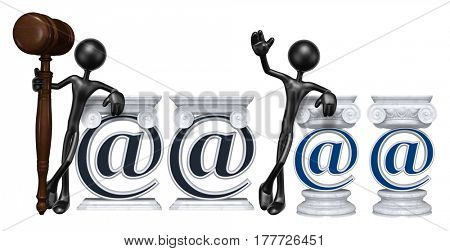 Lawyer Leaning On A Email Symbol The Original 3D Character Illustration