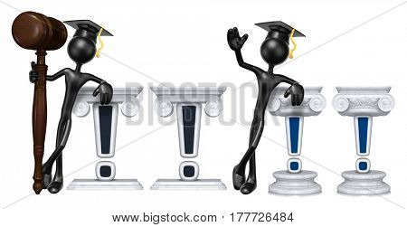 Education Lawyer Leaning On An Exclamation The Original 3D Character Illustration