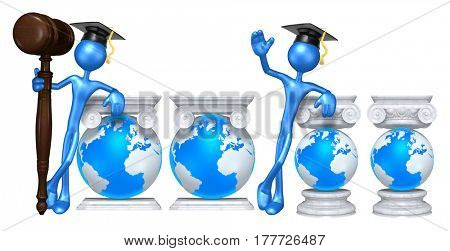 Education Lawyer Leaning On A Globe The Original 3D Character Illustration