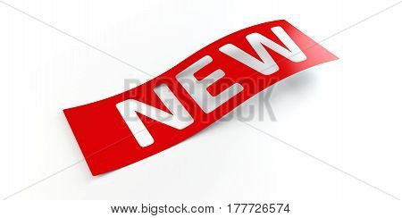 Red New Label Sticker. 3d illustration. Isolated white background