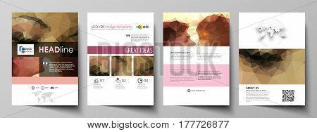 Business templates for brochure, magazine, flyer, booklet or annual report. Cover design template, easy editable vector, abstract flat layout in A4 size. Romantic couple kissing. Beautiful background. Geometrical pattern in triangular style.