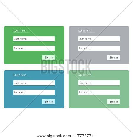 login form for website Vector  set of four