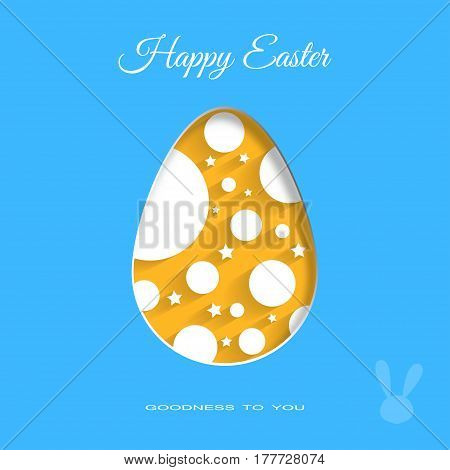 Vector poster of yellow Easter egg with white geometric pattern and text on the blue background.