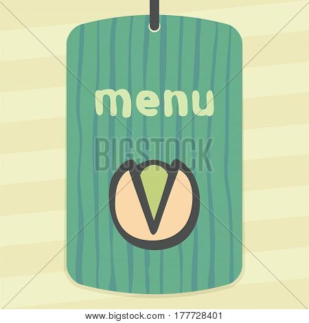 Vector outline pistachio food icon on label with hand drawn striped background. Elements for mobile concepts and web apps. Modern infographic logo and pictogram.