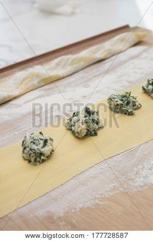 Preparation of Spinach and Ricotta Cheese Stuffed Ravioli