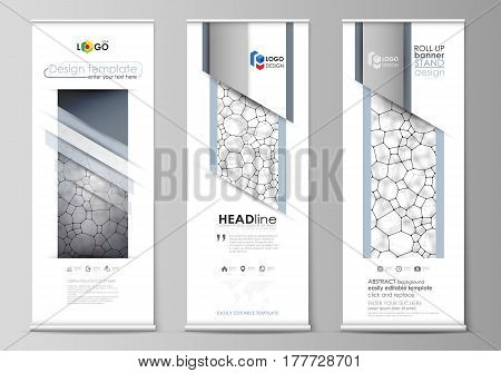Set of roll up banner stands, flat design templates, abstract geometric style, modern business concept, corporate vertical vector flyers, flag layouts. Chemistry pattern, molecular texture, polygonal molecule structure, cell. Medicine, science, microbiolo