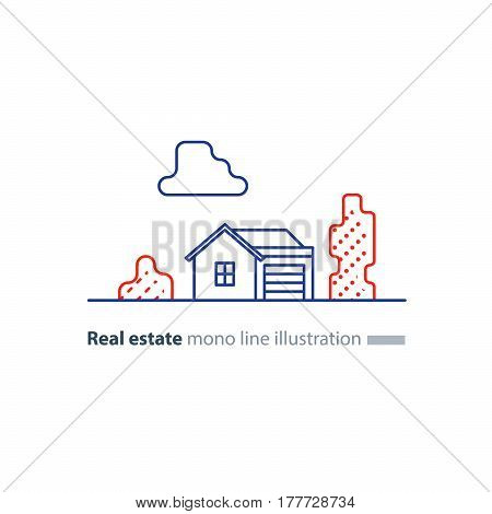 Small detached house with garage and tree, suburb summer house icon, real estate vector mono line illustration