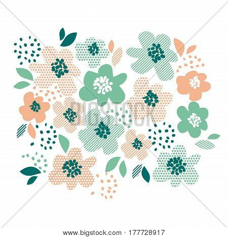 Simple pale color floral decorative design in geometry style. Spring flower element for card, invitation, wedding decoration, print. surface design.