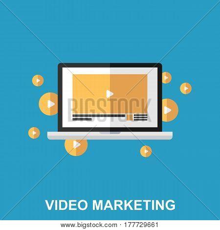 Flat Vector Design Concept  of Video Marketing