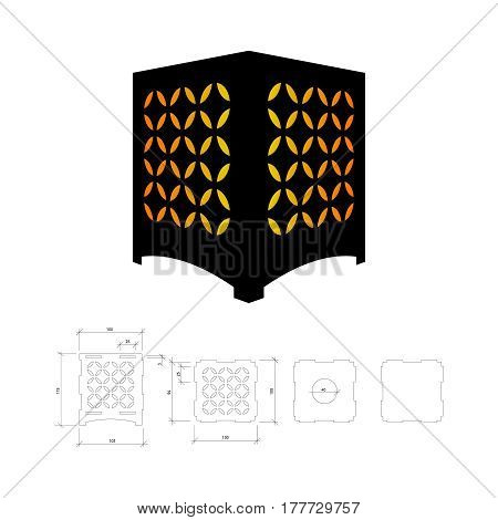 Cut out template for lamp, candle holder, lantern or chandelier (plywood 3mm).  Shadow box with oriental geometric design. Scheme is suitable for a laser cutting or printing