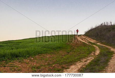 Man running uphill through green cereal field at sunset Extremadura Spain