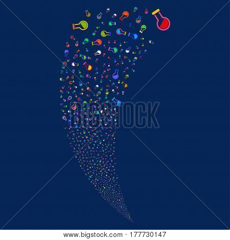 Retort random fireworks stream. Vector illustration style is flat bright multicolored iconic symbols on a blue background. Object fountain created from scattered icons.
