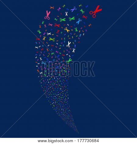 Scissors random fireworks stream. Vector illustration style is flat bright multicolored iconic symbols on a blue background. Object fountain done from scattered pictographs.