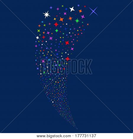 Shine Stars random fireworks stream. Vector illustration style is flat bright multicolored iconic symbols on a blue background. Object fountain organized from scattered symbols.