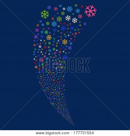 Snowflake random fireworks stream. Vector illustration style is flat bright multicolored iconic symbols on a blue background. Object fountain constructed from scattered symbols.