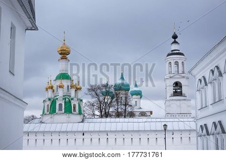 White brick buildings, churches and fortress walls. Tolga Convent. Yaroslavl. Russia.