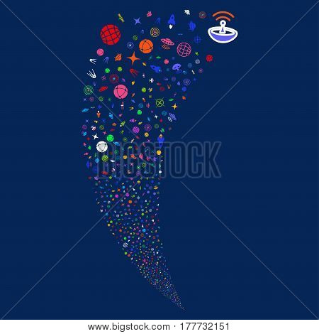 Space Technology Symbols random fireworks stream. Vector illustration style is flat bright multicolored iconic symbols on a blue background. Object fountain combined from scattered pictographs.