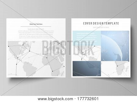 The minimalistic vector illustration of the editable layout of two square format covers design templates for brochure, flyer, booklet. World globe on blue. Global network connections, lines and dots