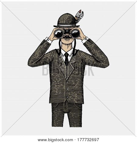 Man in costume looking through the binoculars, spyglass vintage old engraved or hand drawn illustration. Hunter, ornitologist, scientist in wood cut or sketch style