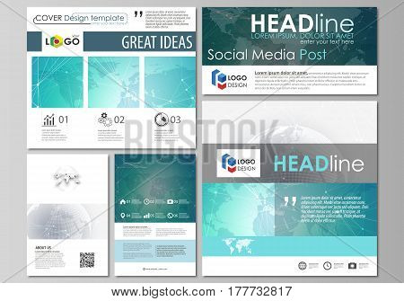 The minimalistic abstract vector illustration of the editable layout of modern social media post design templates in popular formats. Chemistry pattern. Molecule structure. Medical, science background.