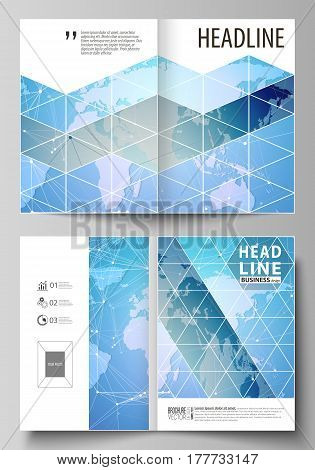 The vector illustration of the editable layout of two A4 format modern cover mockups design templates for brochure, magazine, flyer. World map on blue, geometric technology design, polygonal texture