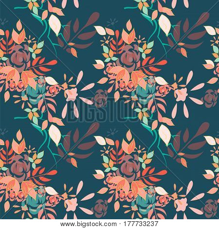 Amazing detailed floral pattern with bright colorful flowers, plants and branches on a dark blue background. The elegant template for fashion prints.