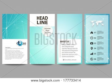 The minimalistic abstract vector illustration of the editable layout of four modern vertical banners, flyers design business templates. Futuristic high tech background, dig data technology concept