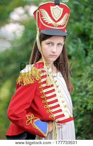 Portrait Of A Girls In The Style Of Hussars