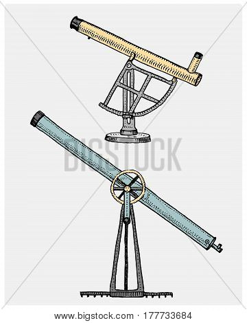 Astronomical telescope, vintage, engraved hand drawn in sketch or wood cut style, old looking retro scinetific instrument for exploring and discovering.
