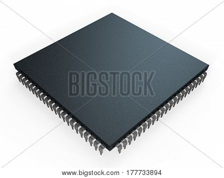 computer micro processor on white background 3D