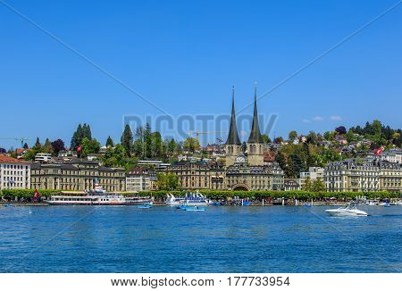Lucerne, Switzerland - 7 May, 2016: Lake Lucerne, view from the city of Lucerne. Lake Lucerne is a lake in central Switzerland, it is the fourth largest lake in the country.