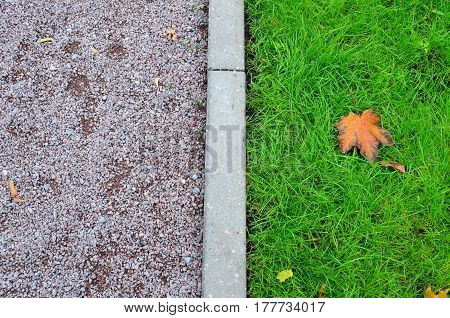 The middle of autumn is a green lawn, fallen leaves, and a path of small gravel, a curbstone
