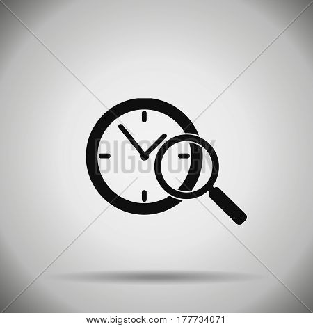 search time icon magnifier and clock symbol