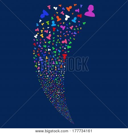 User random fireworks stream. Vector illustration style is flat bright multicolored iconic symbols on a blue background. Object fountain made from scattered icons.