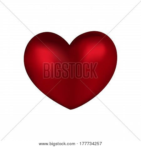Simple Volume Red Heart On A White Background
