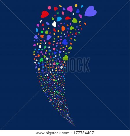 Valentine Petals random fireworks stream. Vector illustration style is flat bright multicolored iconic symbols on a blue background. Object fountain created from scattered icons.