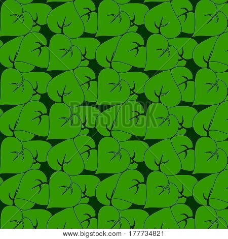 Seamless Pattern Of Simple Green Leaves