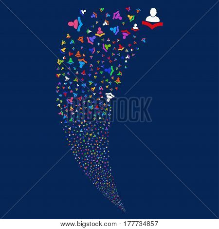 Warning random fireworks stream. Vector illustration style is flat bright multicolored iconic symbols on a blue background. Object fountain organized from scattered icons.