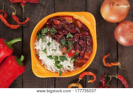 Rice and beans, brazilian food staple meal
