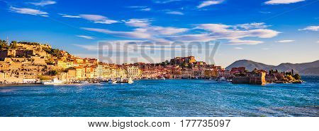 Elba island Portoferraio village panorama harbour and skyline from a ferry boat. Tuscany Italy Europe