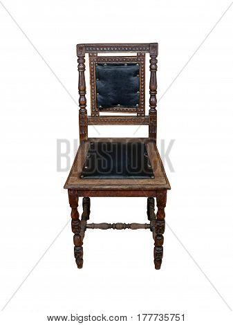 Old vintage chair in mahogany with black accents