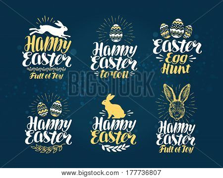 Easter, label set. Handwritten beautiful inscription to design greeting card. Vector illustration