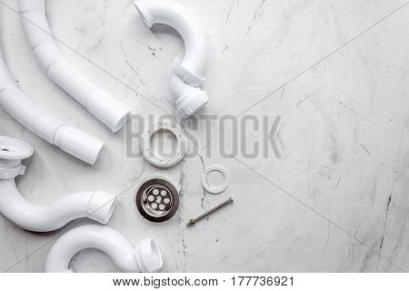 concept plumbing work top view on stone background.