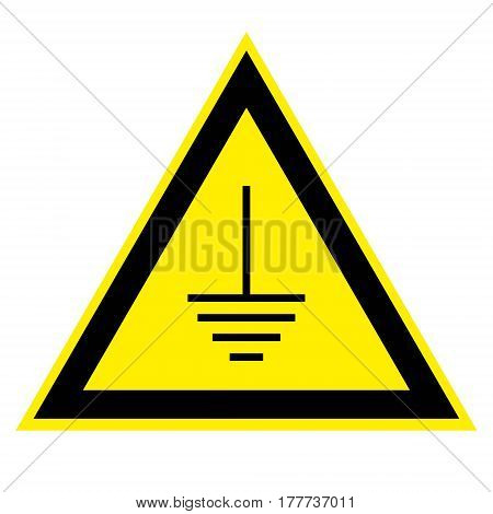 triangular sign grounding electrical equipment, the grounding vector sign