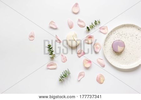 light woman breakfast trendy disign with flowers on white table background top view